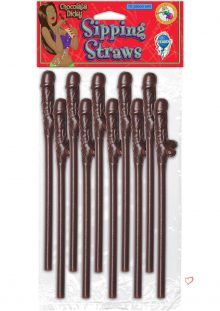 Chocolate Dicky Sipping Straws 10 Pack