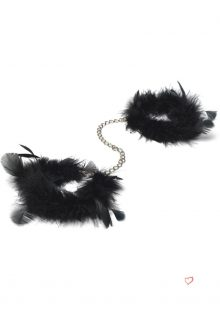 Za Za Zu Feather Handcuffs Black