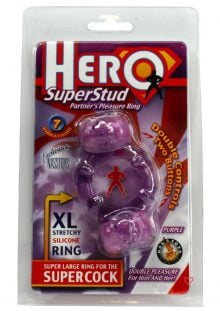 Hero Super Stud Partners Pleasure Ring XL Stretchy Silicone Ring Purple