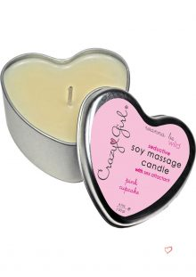 Crazy Girl Wanna Be Wild Seductive Soy Massage Candle With Sex Attractant Pink Cupcake 4.7 Ounce