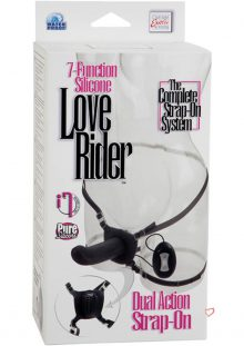 7 Function Silicone Love Rider Dual Action Strap On Waterproof Black