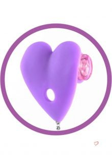 Fetish Fantasy Silicone Vibrating Heart Pasties Purple