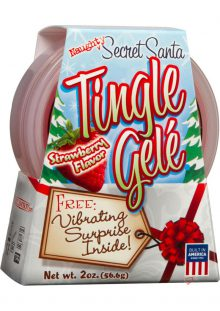 Naughty Secret Santa Tingle Gele With Finger Massager Strawberry 2 Ounce