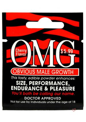 OMG Obvious Male Growth Edible Powder Enhancer Cherry Flavor Single Pack