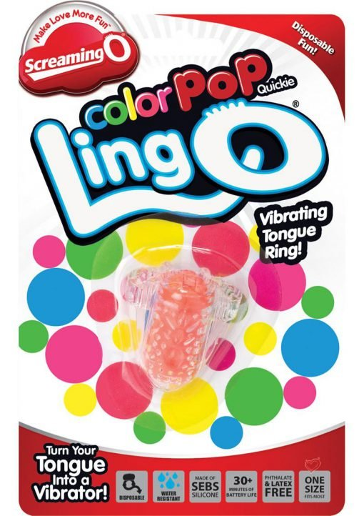 Screaming O Color Pop Quickie Lingo Silicone Vibrating Tongue Ring Waterproof Orange