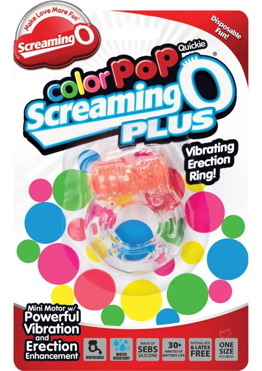 Color Pop Quickie Screaming O Plus Vibrating Ring Silicone Cockring Orange