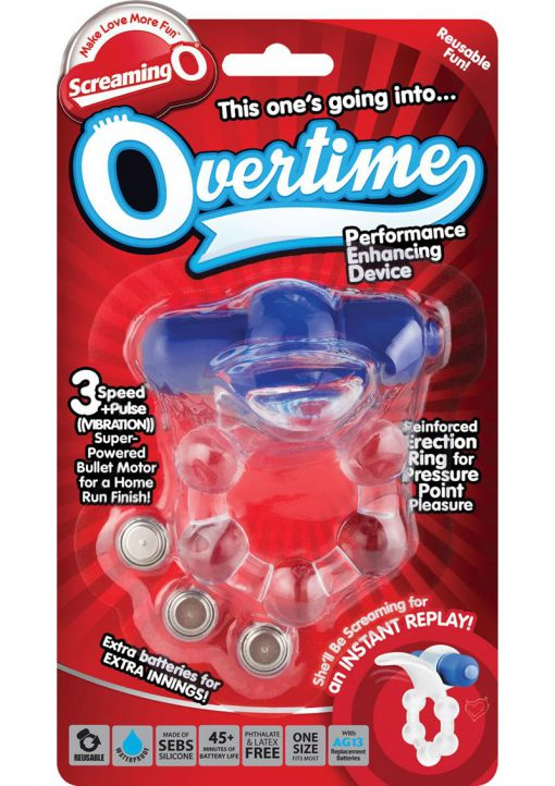 Screaming O Overtime Silicone Vibrating Cockring Waterproof Blue