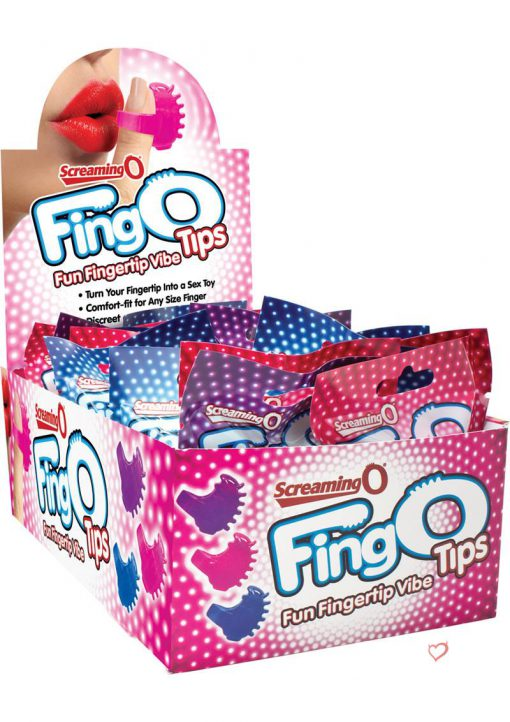 Screaming O Fing O Tips Silicone Finger Massagers Assorted Colors 18 Each Per Counter Display