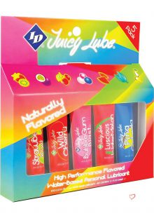 Juicy Lube Flavored Water Based Lubricant Assorted Flavors .42 Ounce Tubes 5 Each Per Pack