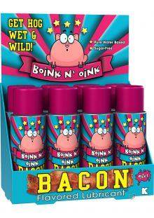 Wet Boink N Oink Bacon Flavored Water Based Lubricant 4.6 Ounce 8 Each Per Counter Display