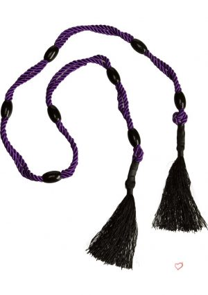 Black Rose Beaded Bliss Cotton Bondage Rope 37 Inch Purple