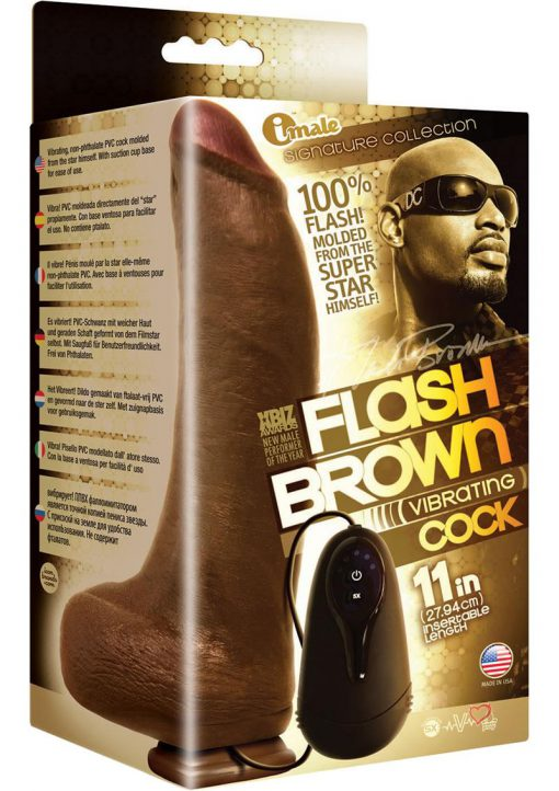 Imale Signature Flash Brown Vibrating Cock Realistic Dong Waterproof Black 11 Inch