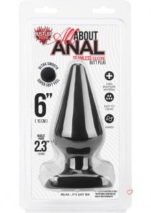 Hustler All About Anal Seamless Silicone Butt Plug Black 6 Inch
