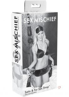 Sex And Mischief Satin And Fur Sex Strap With Satin Blindfold Black