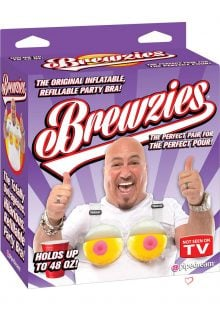 Brewzies Inflatable Refillable Party Bra Drinking Accessory Holds 48 Ounces