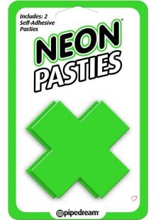 Neon Pasties X Shaped Self Adhesive Green 2 Each Per Pack