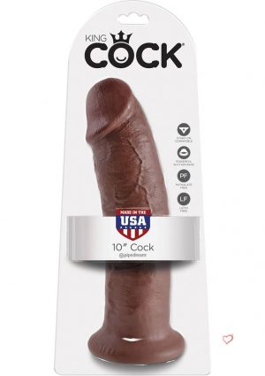 King Cock Realistic Cock Brown 10 Inch