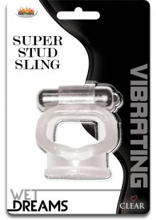 Wet Dreams Vibrating Super Stud Sling Silicone Cockring Waterproof Clear