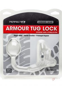 Armour Gear Armour Tug Lock Cockring With Anal Stimulation Clear Standard Size