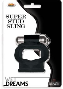 Wet Dreams Super Stud Sling Silicone Vibrating Cockring Waterproof Black