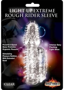 Wet Dreams Extreme Light Up Rough Rider Silicone Textured Sleeve Waterproof Clear