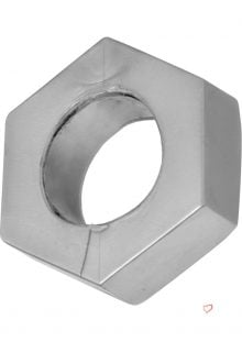 Master Series Silver Hex Cock Ring Ball Stretcher Grey