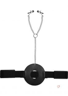 Master Series Detained Restraint With Nipple Clamps