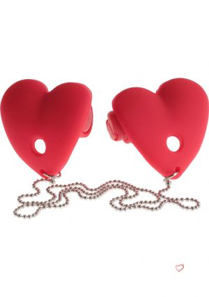 Festish Fantasy Vibrating Heart Pasties Red