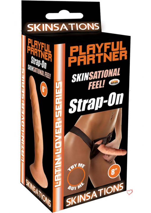 Skinsations Latin Lover Playful Partner Strap On Brown 8 Inch