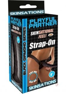 Skinsations Black Diamond Playful Partner Strap On Black 8 Inch
