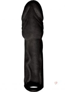 Skinsations Black Diamond Husky Lover Extension Sleeve With Scrotum Strap Black 6.5 Inch
