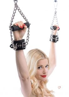 Fur Lined Leather Suspension Cuffs