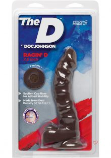 The D Raging D Dual Density Ultraskin Realistic Dong With Balls Chocolate 7 Inch