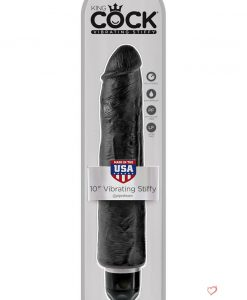 King Cock Vibrating Stiffy Realistic Dildo Waterproof Black 10 Inch