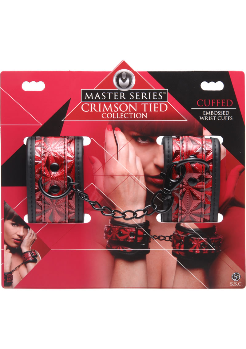 Master Series Embossed Wrist Cuffs With Chain Red 8 Inches