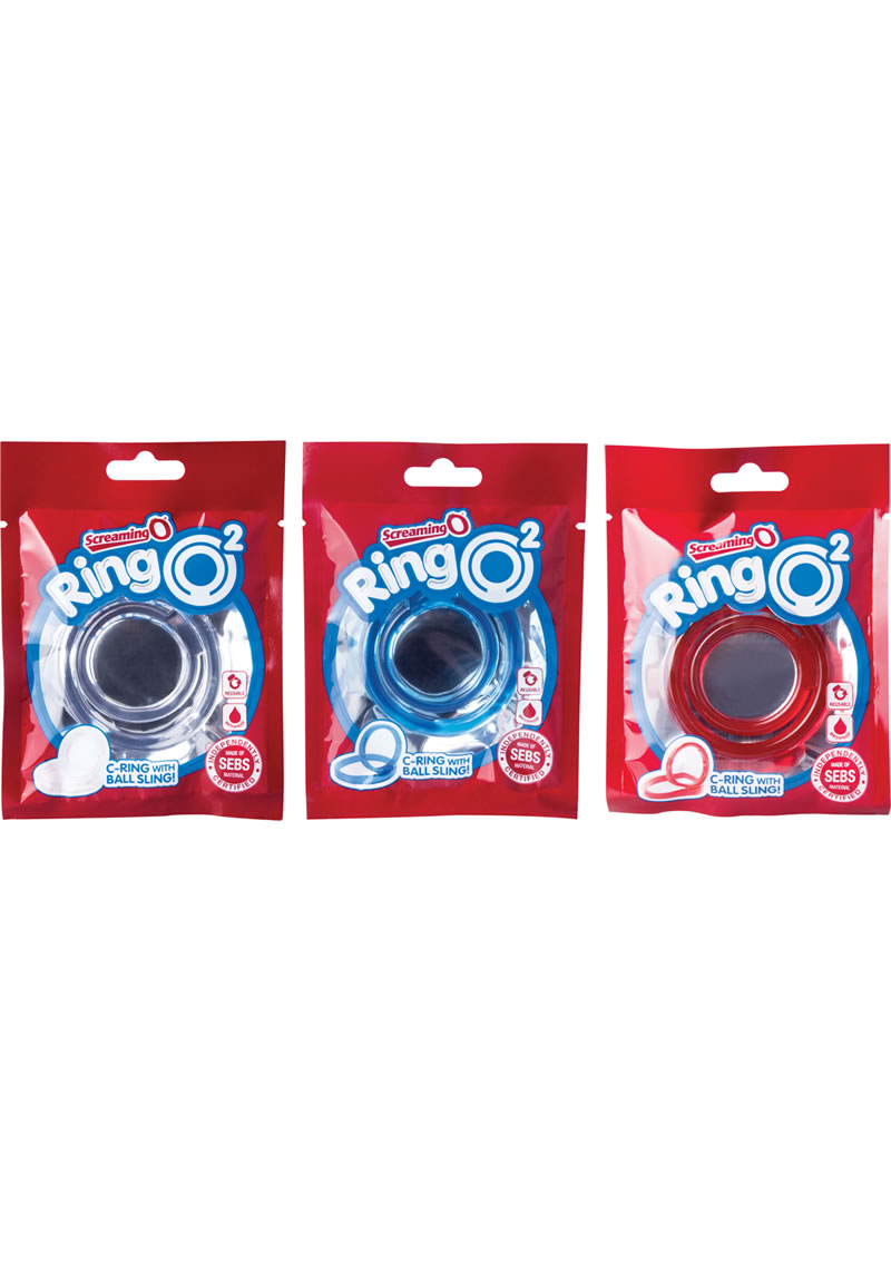 Ring O 2 Cockring With Ball Sling Assorted Colors 18 Each Per Box