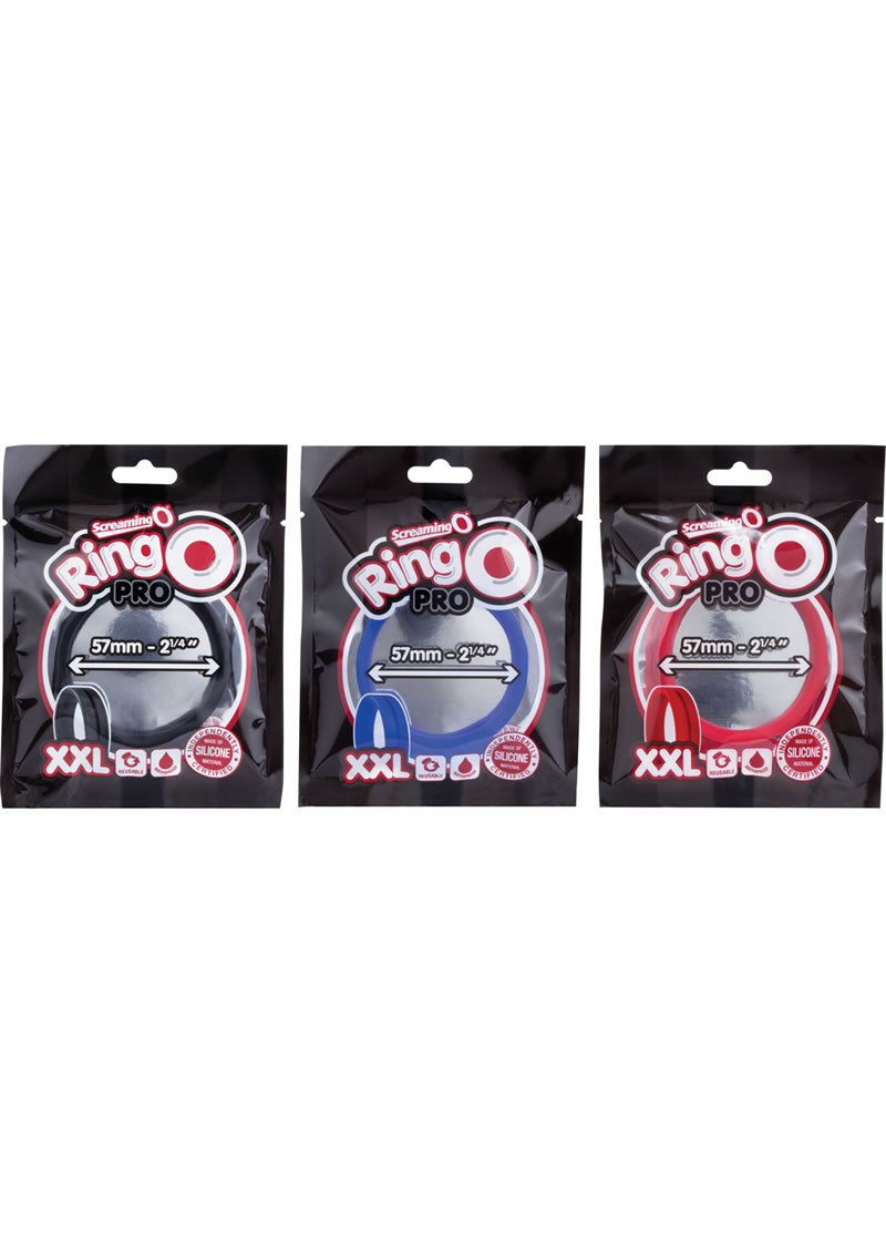 Ring O Pro Double Xtra Large Silicone Cockrings Waterproof Assorted Colors 12 Each Per Pop Box