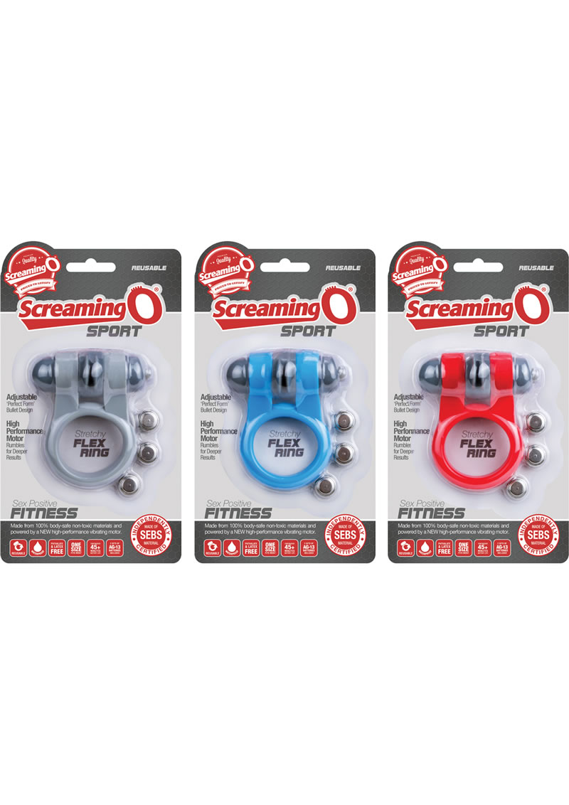 Screaming O Sport Vibrating Cockring Waterproof Assorted Colors 6 Each Per Box