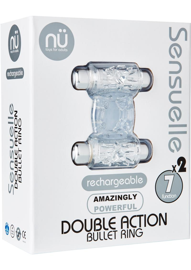 Nu Sensuelle Double Action 7 Function Silicone Rechargeable Bullet Ring Waterproof Clear