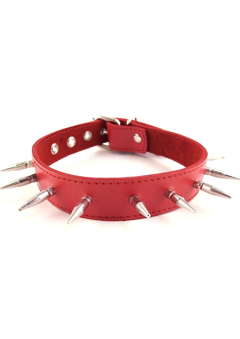 Rouge Adjustable Spiked Collar Leather Red
