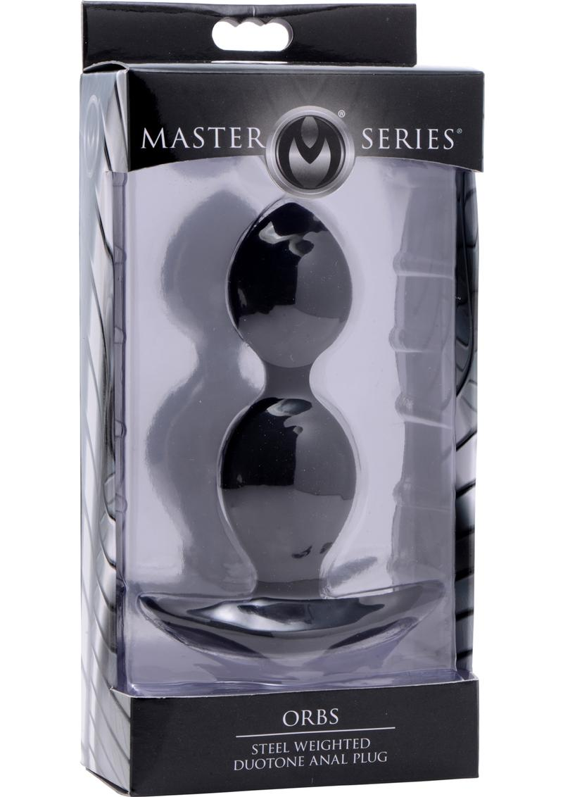 Master Series Orbs Steel Weighted Duotone Silicone Anal Plug Black 4.5 Inch