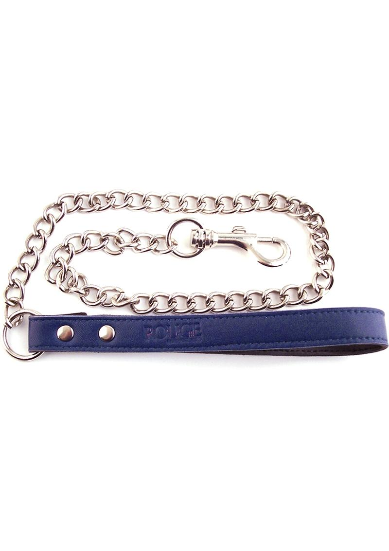 Rouge Leather Chain Lead Blue