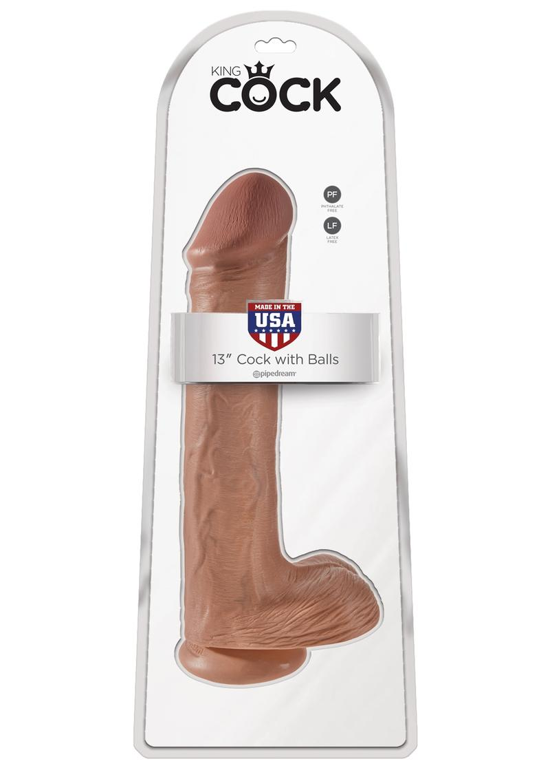 King Cock Realistic Dildo With Balls Tan 13 Inch