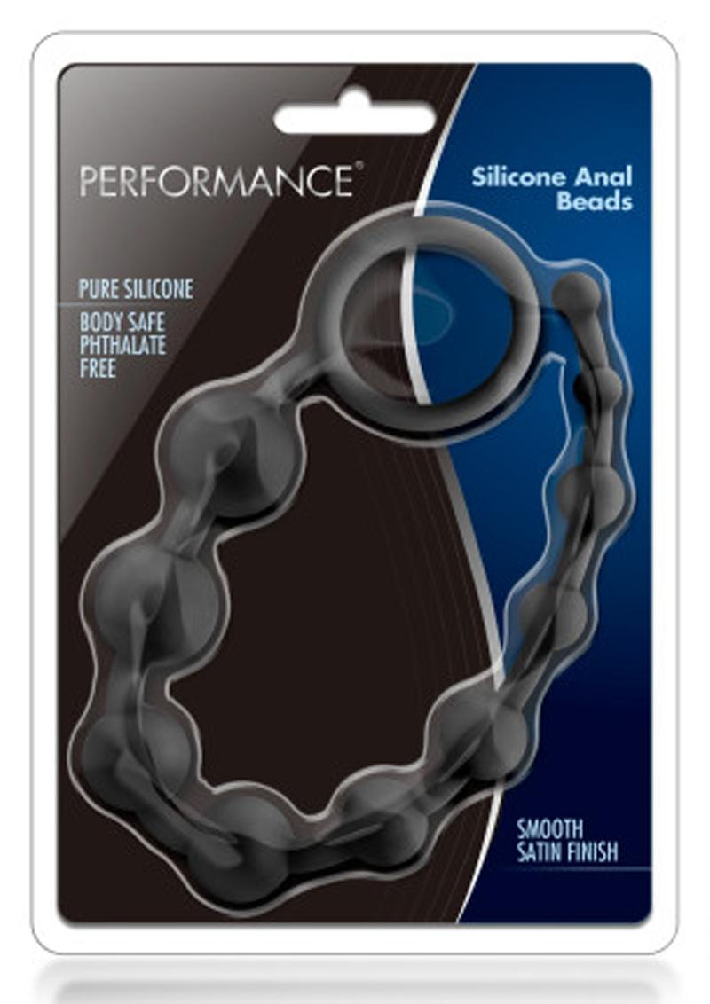 Performance Silicone Anal Beads Waterproof Black 10 Inch