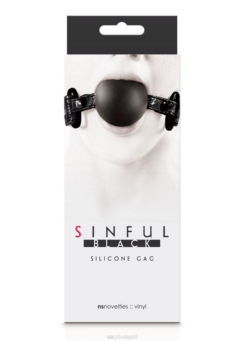 Sinful Silicone Gag With Vinyl Adjustable Straps Black