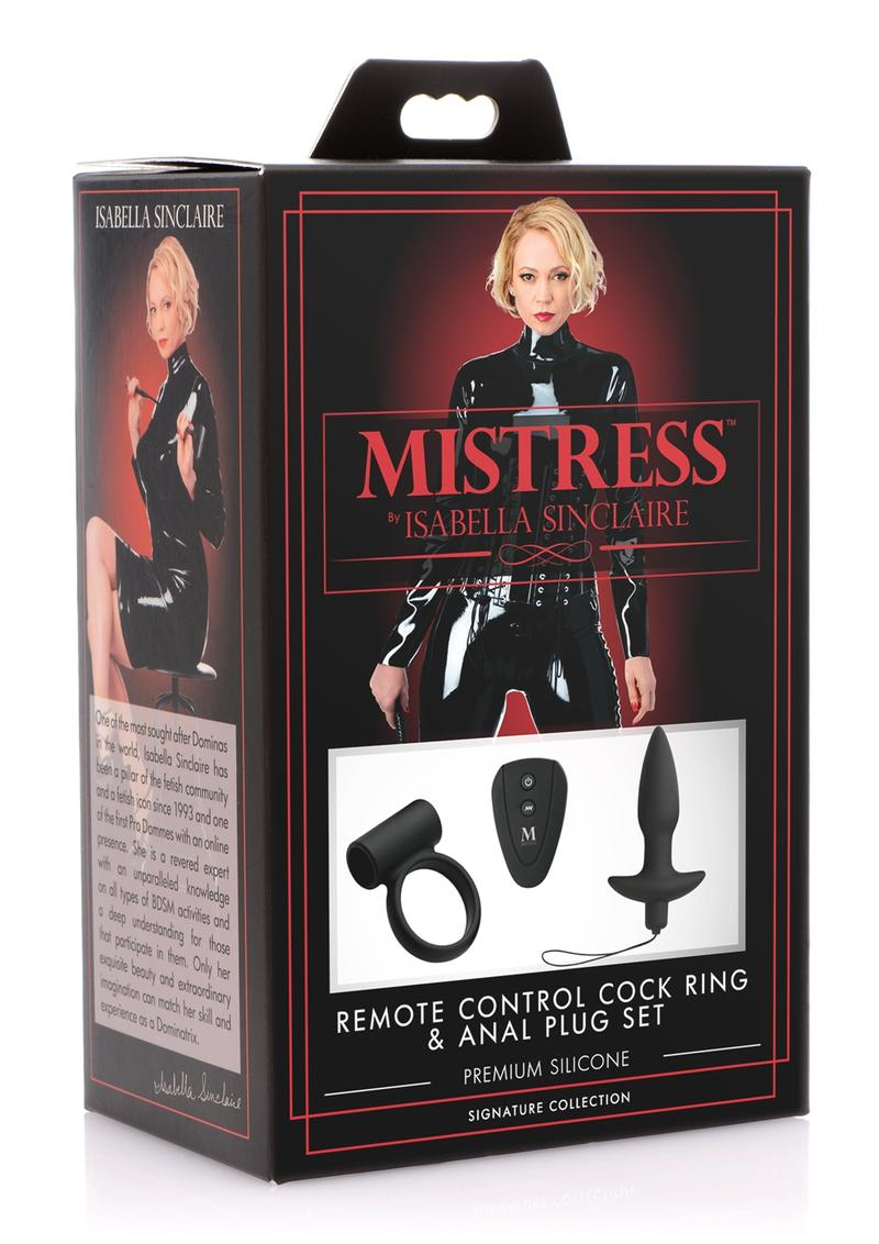 Mistress by Isabella Sinclaire Remote Control Silicone Cock Ring and Anal Plug Set