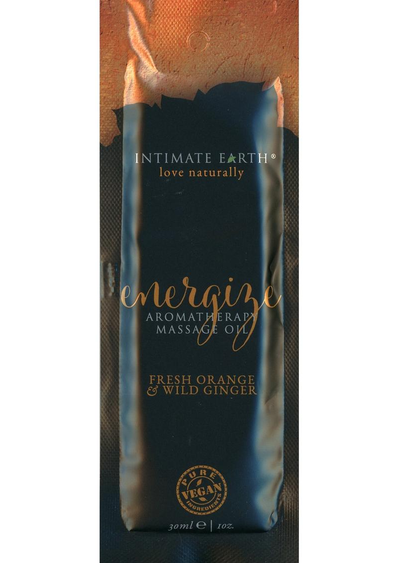 Intimate Earth Energize Aromatherapy Massage Oil Fresh Orange and Wild Ginger Foil Pack 1 Ounce