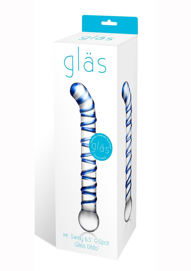Glass Mr. Swirly G-Spot Glass Dildo Clear and Blue 6.5 Inches
