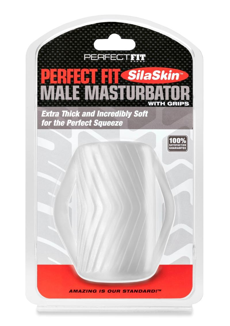 Perfect Fit SilaSkin Male Maturbator With Grips Textured Stroker Clear