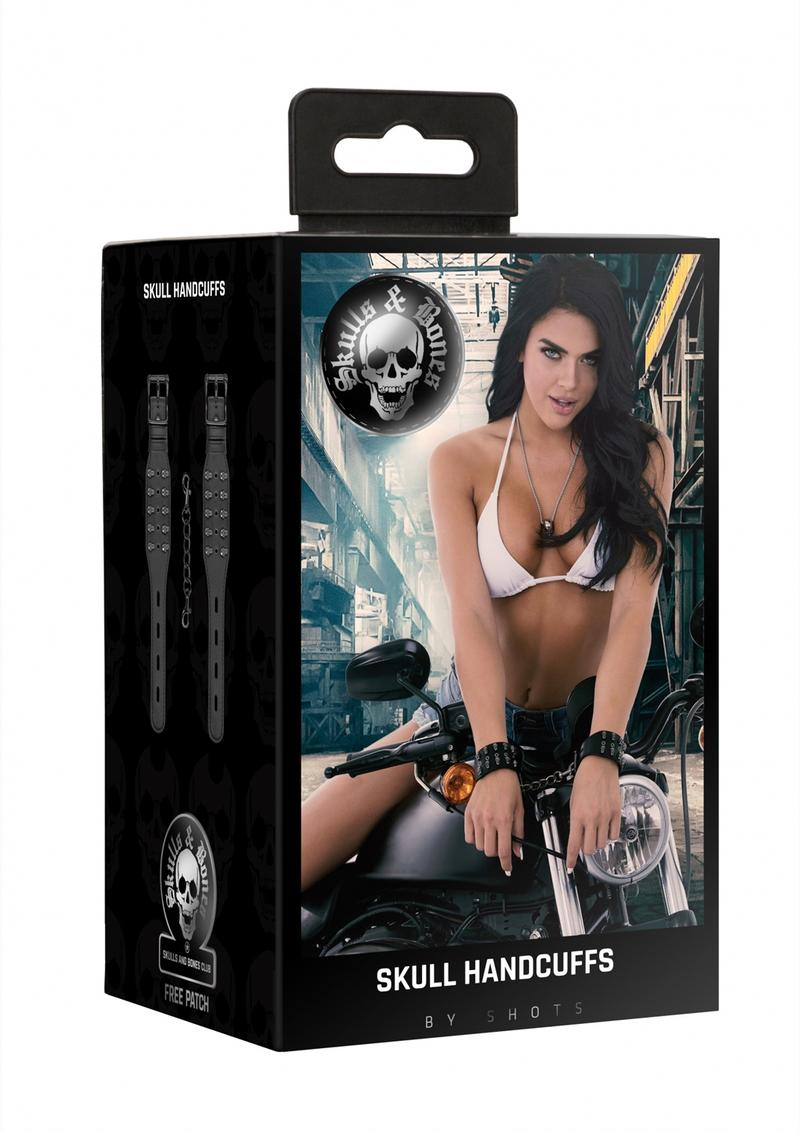 Ouch! Skulls And Bones Skull Handcuffs Leather Black